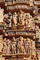 Intricate sculptures on the Lakshmana temple, Khajuraho, Madhya Pradesh, India