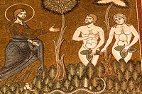 Mosaic of Adam and Eve, inside Monreale Cathedral, Monreale, near Palermo, Sicily, Italy