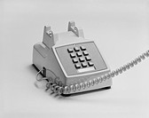 Telephone on white background, close_up