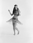 Young woman dancing in traditional clothing, portrait