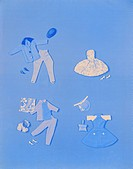 Various clothing´s on blue background