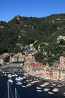 Italy, Liguria, Portofino, general aerial view,