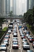 WANCHAI HONG KONG Gloucester Road traffic queuing near Harbour Tunnel