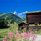 Mazot, traditional wooden raccards and top of the Matterhorn, Zermatt, canton Valais, Switzerland