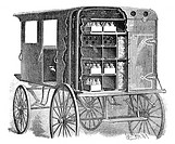 Refrigerated milk cart. This design, from the USA, used ice to keep the air temperature cool for the transport of milk. Holes in the compartments allo...