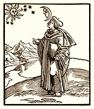 Early 17th Century astrologer. 1610 artwork of an astrologer watching the sun, moon and stars.