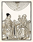 King and astrologer. Historical artwork of an astrologer watching the sun, the moon, the planets and the stars, and telling a King the results of his ...