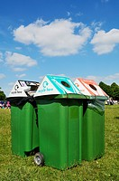 Recycling bins on Clifton Down, Bristol during a charity event