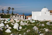 Cemetery in coastal city, Tangier, Morocco, april
