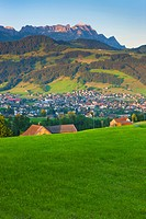 Appenzell, Switzerland, canton Appenzell, Innerrhoden, town, city, houses, homes, view point, mountains, Alpstein, morning light, nature