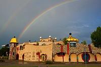 Staad, Hundertwasser, Switzerland, canton St. Gallen, Lake of Constance region, covered market, architecture, artist, Hundertwasser, clouds, rainbows,