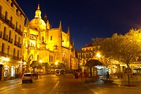 Square and cathedral, Segovia, Castilla-Leon, Spain