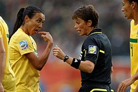 WOLFSBURG, GERMANY - JULY 3: Marta of Brazil L gestures to referee Kari Seitz R after a contentious play in a FIFA Women´s World Cup Group D match aga...