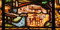 Painting on glass depicting a ´caserio´ (typical Basque farm house), Behobia, Guipuzcoa, Basque Country, Spain