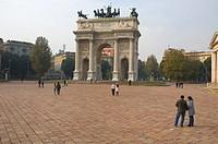 Arco della Pace gate Piazza Sempione square Milan Lombardy region Italy Europe
