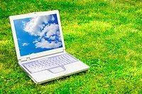 laptop and blue sky