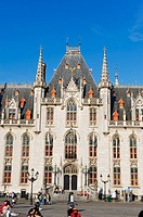 neo-gothic post office in market square, old town, Unesco World Heritage Site, Bruges, Flanders, Belgium, Europe.