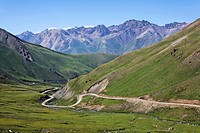 Road winding through mountainous central Kyrgyzstan, Kyrgyzstan