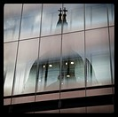 Saint Paul´s Cathedral reflected in a glass building, London, England, United Kingdom,Europe