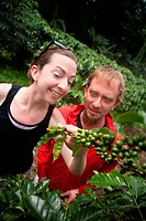 American and European couple on coffee plantation in Costa Rica