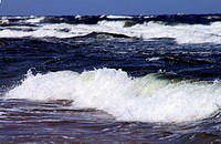 Waves at the coastline