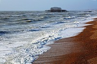 The coast and West Pier at Brighton, East Sussex, England