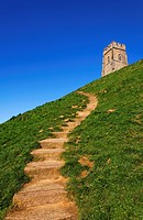 Steps leading up Glastonbury Tor, Glastonbury, Somerset, England