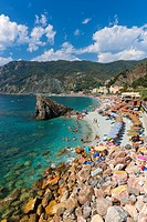 Beach at Monterosso al Mare, Cinque Terre, Liguria, Italy, Europe