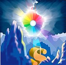 A rainbow sun shining on a dollar sign