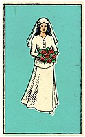 A bride carrying a bouquet