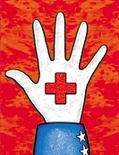 A hand with a red cross on it
