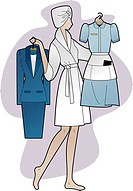 A woman holding a business suit and a maid´s outfit