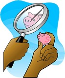 Hands holding magnifying glass whild looking at a small piggy bank