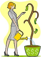 A woman watering a plant with few dollar bills