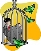A businessman stuck in a bird cage with money flying around
