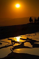 Travertine terrace formations  Pamukkale  Denizli province  Anatolia  Turkey