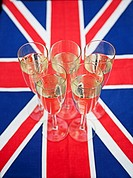 Glasses of champagne on Union Jack