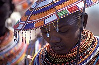 Samburu woman wearing beadwork in a Samburu Village, Eastern Province, Kenya