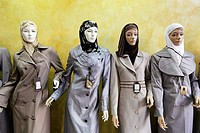 Mannequins displaying islamic clothes in a shop in Amman, Jordan