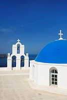 Blue domes of church in Firostefani, Santorini, Mediterranean sea, Cyclades Island, Greek Islands, Greece, Europe,