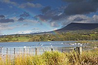 Rainbow over Llangorse Lake, Brecon Beacons National Park, Wales, UK