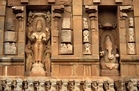 Colossal sculptures on the Main Temple of the Brihadisvara Temple, Thanjavur, Tamil Nadu, India