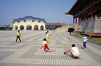 Taiwan, Chiang Kai_Shek Memorial. Family playing baseball