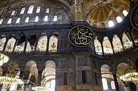 Turkey, Istanbul, Hagia Sophia mosque aka Aya Sophia, St. Sophia, Haghia Sophia, interior.