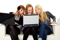 Girls communicate on Internet with foreigners