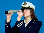 Portrait of the woman _ captain with telescope