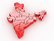 Three_dimensional map of India on white isolated background. 3d