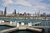 Chicago seen from empty marina