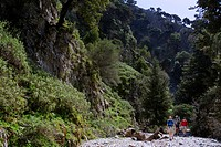Greece, Crete. Hikers in Imbros Gorge. Chania Region. MR