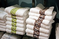 Two Stacks of Towels Displayed at a Retail Home Goods store